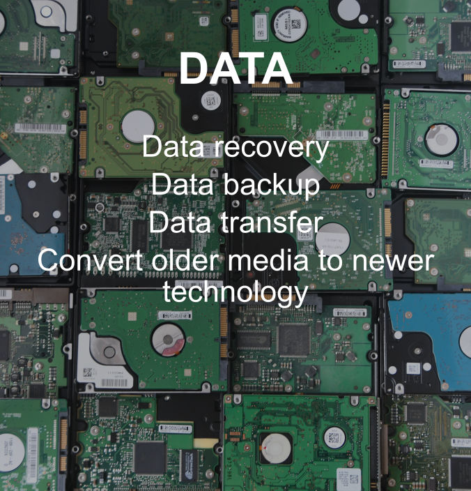A compliation of hard drives representing data recovery, backup, transfer