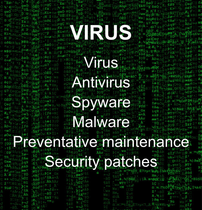 A matrix-esque photo of a computer virus listing virus removal options